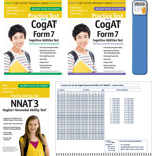 Total Study Package - CogAT Form 7 level 14 grade 7/8 practice tests 1 and 2
